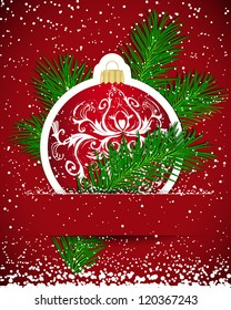 Christmas background. Sticker ball and tree branch inserted into a slot on the paper card.
