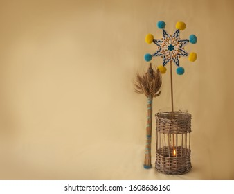 """Christmas background with a symbolic sheaf """"Diduh"""", Christmas star and lantern"""