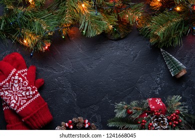 Christmas background. Top view with copy space.