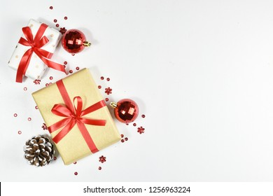 Christmas background. Top view of Christmas decorations. Flat lay of creative design on white background. Copy space for text.