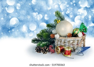 Christmas background with tree, balls, Christmas decorations