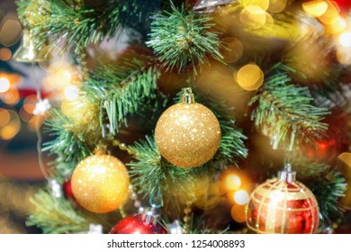 Christmas background with christmas tree and balls.Happy new year concept