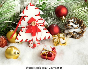 Christmas background with tree branches and decorations