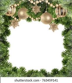 Christmas background with tree branches and golden balls