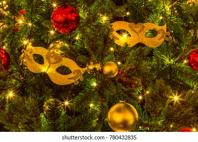 Christmas background, Christmas tree decorations