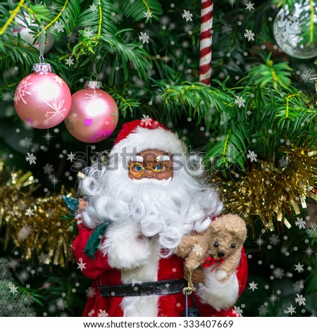 christmas background with christmas tree decorations such as santa fairies butterfly candles and - Santa Claus Christmas Tree Decorating Ideas