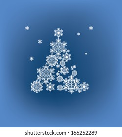 Christmas background with tree silhouette formed  snowflakes