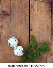 Christmas background vintage Christmas tree decorations over wooden table