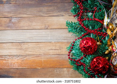 Christmas Background of wooden planks