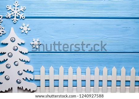Christmas Background Wooden Christmas Tree Snowflakes Stock Photo