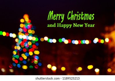 Christmas background with writing Merry Christmas and happy new year