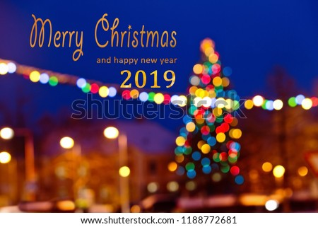 Christmas background with writing Merry Christmas and happy new year 2019