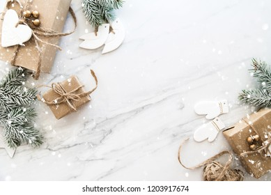 Christmas background with xmas gfts. Merry Сhristmas greeting card. Winter holidays. Happy New Year.