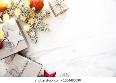 Christmas background with xmas gifts. Merry Сhristmas greeting card. Winter holidays. Happy New Year.