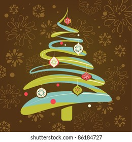 Christmas background with xmas tree - Shutterstock ID 86184727