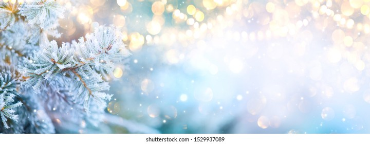 Christmas background. Xmas tree with snow decorated with garland lights, holiday festive background. Widescreen frame backdrop. New year Winter art design, Christmas scene wide screen holiday border