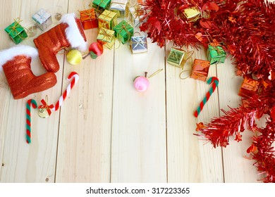 Christmas backgrounds. Christmas decor on the wooden background with space for text