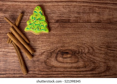 Christmas backgrounds. Christmas decor on the wooden background.