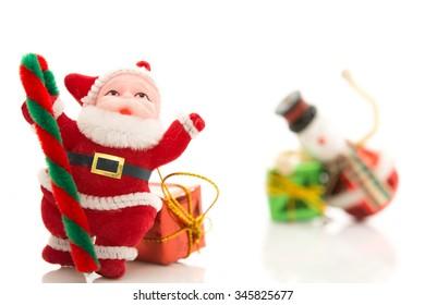 Christmas backgrounds.Christmas decor with santa isolated on white background.