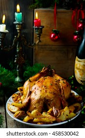 the Christmas baked chicken   with potato . vintage style.