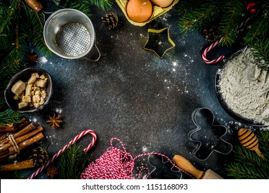 Christmas baking background with  Ingredients for cooking xmas baking, dark blue background, top view
