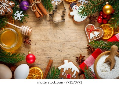 Christmas baking background. Ingredients for christmas baking on wooden table. Top view