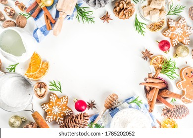Christmas baking background. sweet cooking ingredients on white table. Ingredient for cooking pastry, cookies and cakes, Flatlay on white table, top view with copy space