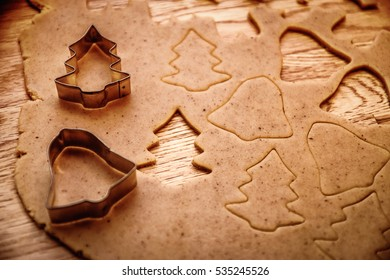 Christmas baking. Christmas cookies and cutter. Top view. Christmas background.