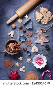 Christmas baking gingerbread cookies concept, flat lay