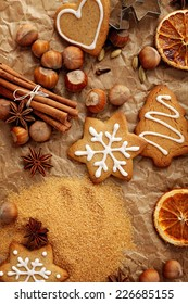 christmas baking ingredients -  spices, cookies, nuts and fruits
