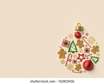 Christmas ball arrangement background. 3d rendered illustration.