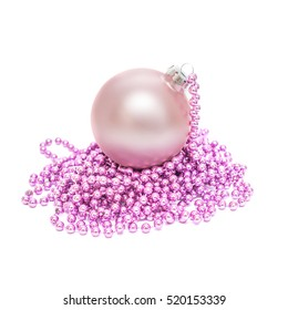 Christmas ball and beads isolated on white background
