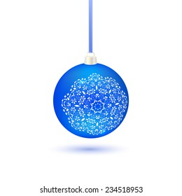 Christmas ball with a blue matte pattern in Russian folk style Gzhel on a white background.  illustration.