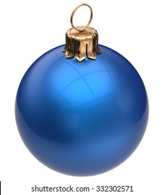 Christmas ball blue New Year's Eve bauble wintertime decoration glossy sphere hanging adornment classic. Traditional winter happy holidays ornament Merry Xmas symbol blank round. 3d render isolated
