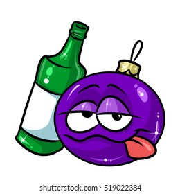 Christmas ball bottle alcohol drunk cartoon illustration isolated image character