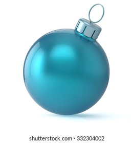 Christmas ball cyan blue New Year's Eve bauble wintertime decoration glossy hanging adornment classic. Traditional winter ornament happy holidays Merry Xmas symbol blank round. 3d render isolated