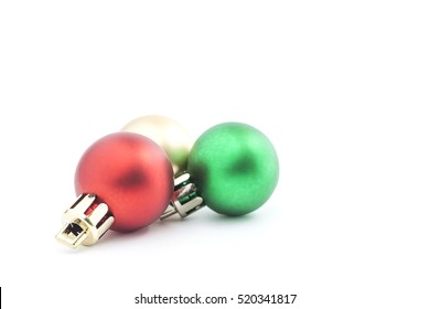 Christmas Ball Decoration. Holiday Decoration lsolated on White Background. space for text your