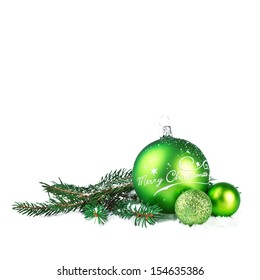 Christmas Ball with Fir branch Isolated on White