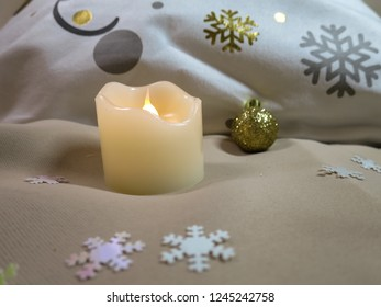 Christmas ball flake candle