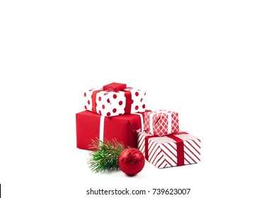 Christmas ball, gifts and green spruce branches isolated on white background. Isolate. Holidays christmas background. Copy space for text or design.