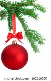 Christmas ball hanging on a fir tree branch Isolated on white background