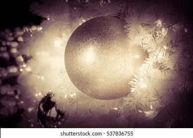 Christmas ball hanging on Christmas tree.