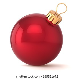 Christmas ball New Years Eve bauble decoration red wintertime ornament icon traditional Merry Xmas winter holiday symbol blank classic shiny. 3d render isolated on white background