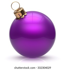 Christmas ball New Year's Eve bauble wintertime decoration purple sphere hanging adornment classic. Traditional winter ornament happy holidays Merry Xmas event symbol glossy blank. 3d render isolated