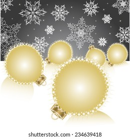 Christmas ball on Falling Snowflakes background.