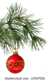 christmas ball on pine tree isolated on white background