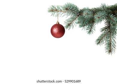 Christmas ball on the tree, on a white background, isolated