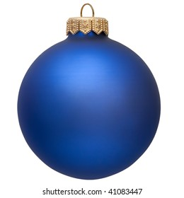 christmas ball (christmas ornament ). blue color. Isolated over white.