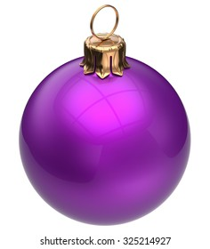 Christmas ball purple New Year's Eve bauble wintertime decoration glossy sphere hanging adornment classic. Traditional winter ornament happy holidays Merry Xmas symbol blank round. 3d render isolated