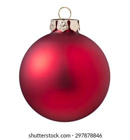 Christmas ball - red Christmas ball isolated on white background.